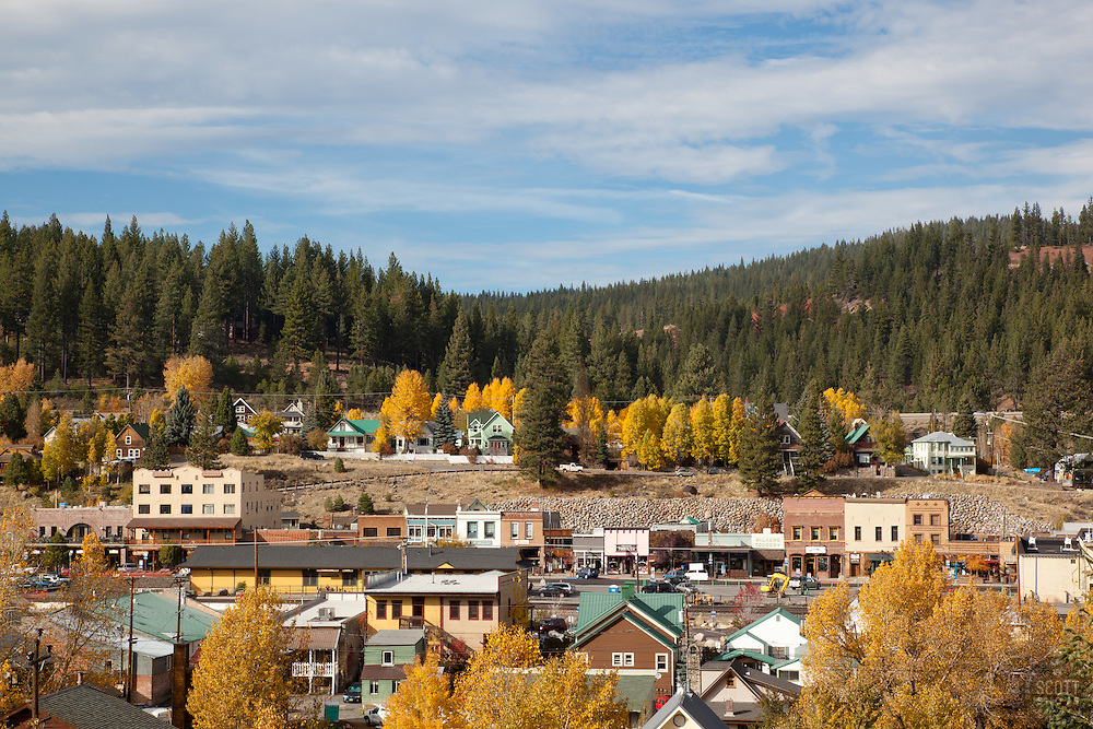 """Downtown Truckee in the Fall 1"" - This is a photograph of homes and buildings in Downtown Truckee, CA in the fall."