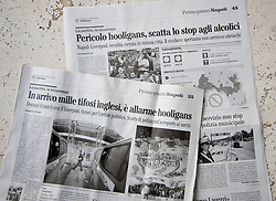 """NAPELS, ITALY - Thursday, October 21, 2010: Italian newspaper Il Mattino prints a story alleging Liverpool """"hooligans"""" are heading to Napels for the UEFA Europa League match against SSC Napoli. The paper even goes as far as listing the places that police have told Liverpool supporters are safe to frequent. Last night two Liverpool supporters were stabbed by Napoli hooligans and several British journalists were confronted by 'Ultras'. (Pic by: David Rawcliffe/Propaganda)"""