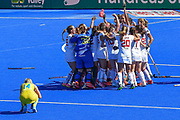 Spain celebrate winning the Bronze Medal at theVitality Hockey Women's World Cup 2018 Bronze Medal match between Australia and Spain, at the Lee Valley Hockey and Tennis Centre, QE Olympic Park, United Kingdom on 5 August 2018. Picture by Martin Cole.
