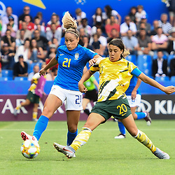 Monica of Brazil and Samantha Peut Kerr of Australia during the Women's World Cup match between Australia and Brazil at Stade de la Mosson on June 13, 2019 in Montpellier, France. (Photo by Alexandre Dimou/Icon Sport)