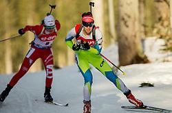 Teja Gregorin of Slovenia competes during Women 7.5 km Sprint at day 1 of IBU Biathlon World Cup 2014/2015 Pokljuka, on December 18, 2014 in Rudno polje, Pokljuka, Slovenia. Photo by Vid Ponikvar / Sportida