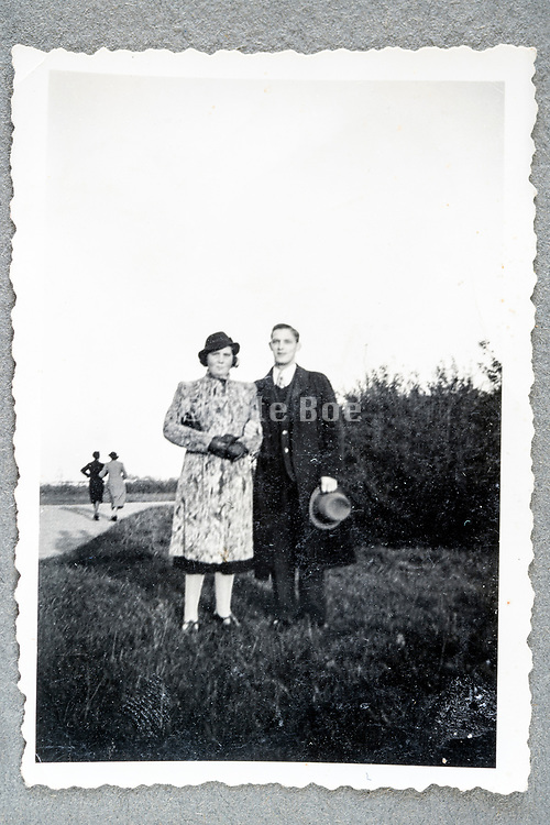 couple posing for a  portrait outdoorts ca 1950s Netherlands