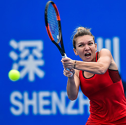 Jan. 5, 2018  - Shenzhen, China - SIMONA HALEP  of Romania hits a return during the semi-final match against her compatriot Irina-Camelia Begu at the WTA Shenzhen Open tennis tournament in Shenzhen, China. Halep won 2-0. (Credit Image: © Mao Siqian/Xinhua via ZUMA Wire)
