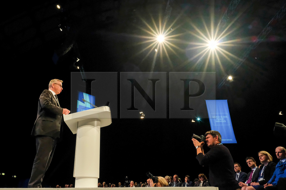 (c) Licensed to London News Pictures. <br /> 02/10/2017<br /> Manchester, UK<br /> <br /> Secretary of State for Environment, Food and Rural affairs Michael Gove speaks to party delegates at the Conservative Party Conference held at the Manchester Central Convention Complex.<br /> <br /> Photo Credit: Ian Forsyth/LNP