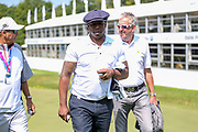 Ian Wright and Ian Poulter finishing the 18th during the Celebrity Pro-Am day at Wentworth Club, Virginia Water, United Kingdom on 23 May 2018. Picture by Phil Duncan.