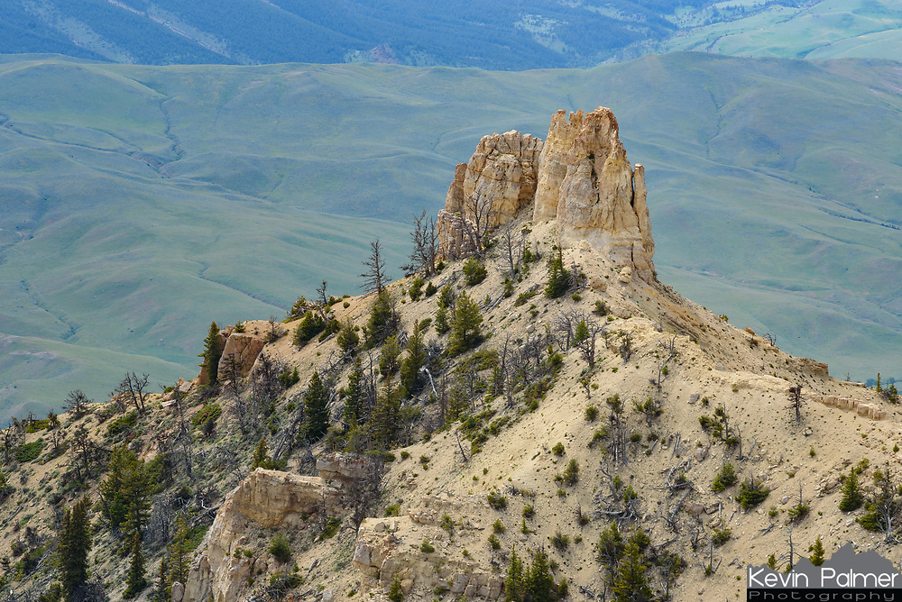 This crumbling spire is on the west side of Heart Mountain, seen from the summit.
