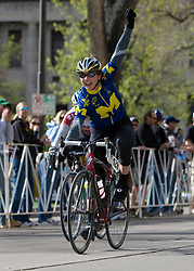 Julie Bellerose (University of Michigan - Ann Arbor) celebrates her win in the 2008 USA Cycling Collegiate National Championships Criterium women's division 1 event held in Fort Collins, CO on May 11, 2008.