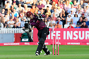 Tom Banton of Somerset hits the ball over the boundary for six runs during the Vitality T20 Blast South Group match between Somerset County Cricket Club and Middlesex County Cricket Club at the Cooper Associates County Ground, Taunton, United Kingdom on 30 August 2019.