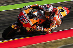 September 23, 2017 - Alcaiz, Spain - Marc Marquez of Repsol Honda Team, in a action during the Gran Premio Movistar de Aragn free practice 3 on September 23, 2017 in Alcaiz, Spain. (Credit Image: © Joan Cros/NurPhoto via ZUMA Press)