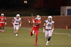 02 September 2017:   Anthony Fowler lines up to catch a pass flanked by Mike Cerone but the ball goes through his hands and falls to the ground during the Butler Bulldogs at  Illinois State Redbirds Football game at Hancock Stadium in Normal IL (Photo by Alan Look)