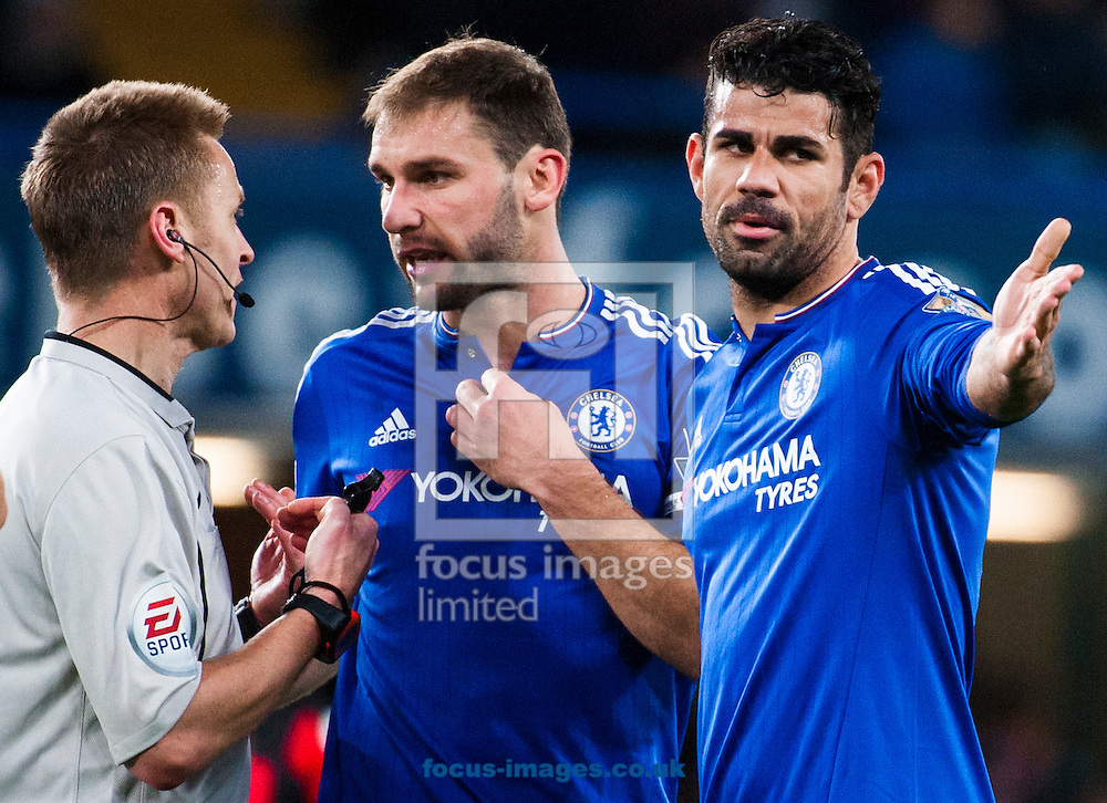 Branislav Ivanovic of Chelsea and Diego Costa of Chelsea appeal to the referee over time wasting  during the Barclays Premier League match at Stamford Bridge, London<br /> Picture by Jack Megaw/Focus Images Ltd +44 7481 764811<br /> 05/12/2015