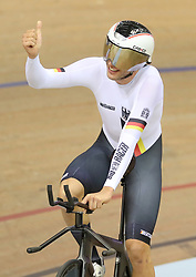 Germany's Domenic Weinstein celebrates on the track after winning the Gold Medal in the Mens Individual Pursuit during day four of the 2018 European Championships at the Sir Chris Hoy Velodrome, Glasgow.