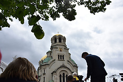 May 5, 2019 - Sofia, Bulgaria - People waiting for arrival of Pope Francis in front of Alexander Nevski cathedral in Sofia, Bulgaria on May 5. Pope Francis will say  Regina Coeli prayer in front of  Alexander Nevski cathedral in Sofia. The Pope is in Bulgaria on an apostolic visit for the first time. Last time when a Pope met with the catholic comunity in Bulgaria was 17 years ago when Pope was Yoan Pavel II  (Credit Image: © Hristo Rusev/NurPhoto via ZUMA Press)