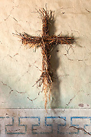 Christian Cross Made of Straw on Chapel Wall with Original Munras Murals at Mission San Miguel Arcangel, San Miguel, California