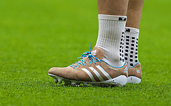 16.03.2014, Old Trafford, Manchester, ENG, Premier League, Manchester United vs FC Liverpool, 30. Runde, im Bild Liverpool's Luis Suarez warms-up wearing knitted boots // during the English Premier League 30th round match between Manchester United and Liverpool FC at Old Trafford in Manchester, Great Britain on 2014/03/16. EXPA Pictures &copy; 2014, PhotoCredit: EXPA/ Propagandaphoto/ David Rawcliffe<br /> <br /> *****ATTENTION - OUT of ENG, GBR*****