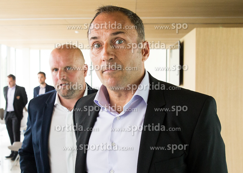 Robert Pevnik and Darko Milanic during press conference of teams NK Celje and NK Maribor before Slovenian Cup 2016 Final match, on May 23, 2016 in National Football Centre, Brdo pri Kranju, Slovenia. Photo by Vid Ponikvar / Sportida