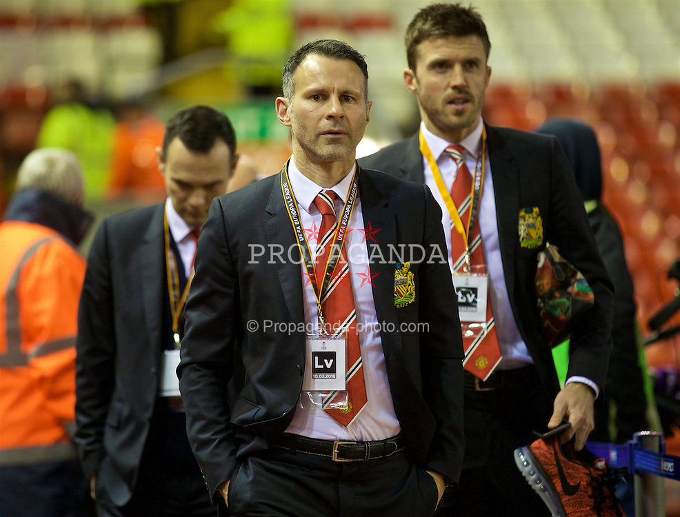 LIVERPOOL, ENGLAND - Thursday, March 10, 2016: Manchester United's assistant manager Ryan Giggs arrives ahead of the UEFA Europa League Round of 16 1st Leg match against Liverpool at Anfield. (Pic by David Rawcliffe/Propaganda)