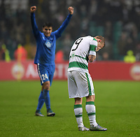 05/11/15 UEFA EUROPA LEAGUE GROUP STAGE<br /> CELTIC v MOLDE FK<br /> CELTIC PARK - GLASGOW<br /> Dejection for Celtic's Leigh Griffiths at full-time as the Molde players celebrate their win