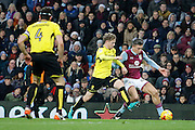 Burton Albion midfielder Matt Palmer (16) tackles Aston Villa midfielder Jack Grealish (40) during the EFL Sky Bet Championship match between Aston Villa and Burton Albion at Villa Park, Birmingham, England on 26 December 2016. Photo by Richard Holmes.