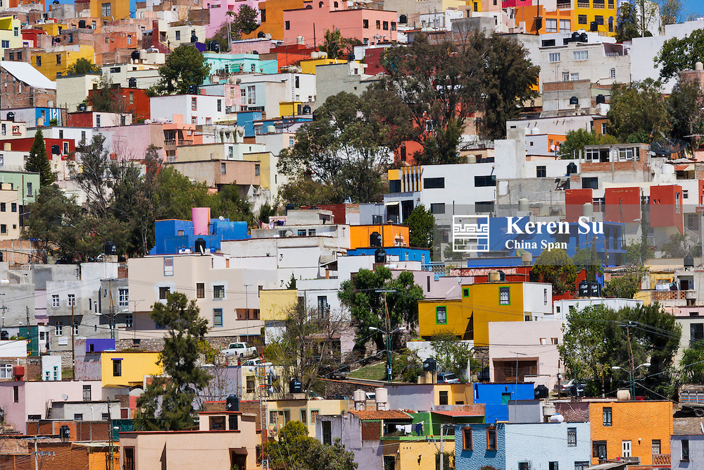Aerial view of colorful houses of Guanajuato, Mexico