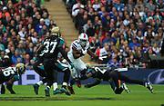 Buffalo Bills LeSean McCoy making a break through the lines during the Buffalo Bills v Jacksonville Jaguars NFL International Series match at Wembley Stadium, London, England on 25 October 2015. Photo by Matthew Redman.