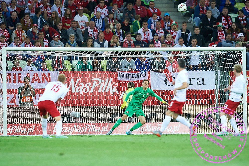 (C) Goalkeeper Wojciech Szczesny from Poland looks at the ball during international friendly soccer match between Poland and Greece at PGE Arena Stadium on June 16, 2015 in Gdansk, Poland.<br /> Poland, Gdansk, June 16, 2015<br /> <br /> Picture also available in RAW (NEF) or TIFF format on special request.<br /> <br /> For editorial use only. Any commercial or promotional use requires permission.<br /> <br /> Adam Nurkiewicz declares that he has no rights to the image of people at the photographs of his authorship.<br /> <br /> Mandatory credit:<br /> Photo by &copy; Adam Nurkiewicz / Mediasport