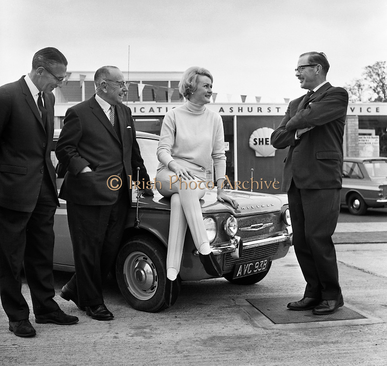 Rally driver Rosemary Smith takes a well-deserved rest after completing a non-stop Round Ireland Endurance Run in her Hillman Imp.  .11.05.1965