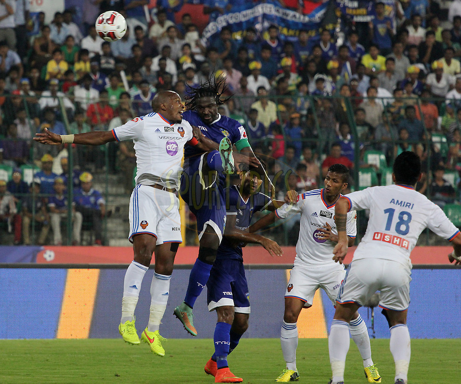 Bernard Mendy of Chennaiyin FC and Gregory Arnolin of FC Goa during match 50 of the Hero Indian Super League between Chennaiyin FC and FC Goa held at the Jawaharlal Nehru Stadium, Chennai, India on the 5th December 2014.<br /> <br /> Photo by:  Vipin Pawar/ ISL/ SPORTZPICS