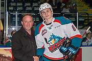 KELOWNA, CANADA - MARCH 14:  Andre's Presentation to Kaedan Korczak #6 of the Kelowna Rockets at the Kelowna Rockets game on March 14, 2018 at Prospera Place in Kelowna, British Columbia, Canada.  (Photo By Cindy Rogers/Nyasa Photography,  *** Local Caption ***