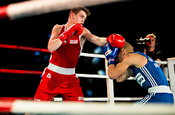 Damjan Gramusa of Serbia (BLUE) fights against Jan Sekol of Slovenia (RED) in Elite 75 kg Category during Dejan Zavec Boxing Gala event in Laško, on April 21, 2017 in Thermana Lasko, Slovenia. Photo by Vid Ponikvar / Sportida