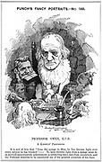 Richard Owen (1804-1892) English zoologist. Coined term 'Dinosaur' (1841). Opposed Darwin and evolution. Figure on left with letter in mouth is TH. Huxley. Richard Linley Sambourne 'Fancy Portrait' for 'Punch', London, 5 January 1884. Engraving