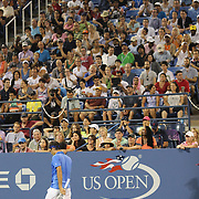 Roger Federer, Switzerland, in the final game during his loss toTommy Robredo, Spain, on Louis Armstrong Stadium during the Men's Singles competition at the US Open. Flushing. New York, USA. 2nd September 2013. Photo Tim Clayton