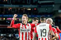 EINDHOVEN - PSV - AZ , Voetbal , Seizoen 2015/2016 , Eredivisie , Philips stadion , 29-11-2015 , PSV speler Luuk de Jong (l) scoort de 2-0 en viert dit met zijn ploeggenoten