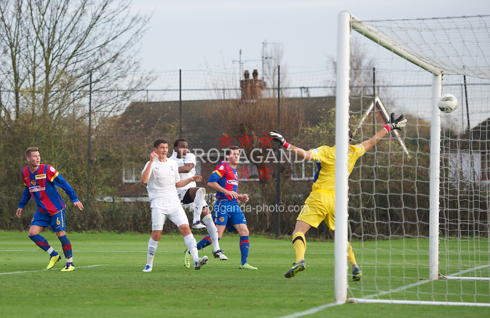 LONDON, ENGLAND - Wednesday, November 23, 2011: Tottenham Hotspur's Milos Veljkovic scores the opening goal against FC Basel 1893 during the NextGen Series Group 4 match at the Spurs Lodge. (Pic by David Rawcliffe/Propaganda)