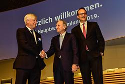 Germany, Essen - May 3, 2019.Annual general meeting of German power supplier RWE AG.From left Rolf Martin Schmitz, Werner Brandt and Maekus Krebberder (Credit Image: © Sepp Spiegl/Ropi via ZUMA Press)