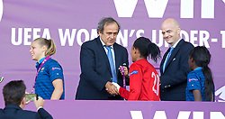 LLANELLI, WALES - Saturday, August 31, 2013: UEFA President Michel Platini presents a medal to France players during the Final of the UEFA Women's Under-19 Championship Wales 2013 tournament at Parc y Scarlets. (Pic by David Rawcliffe/Propaganda)