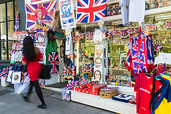 Shops in Windsor are doing a brisk trade in wedding merchandise as excitement builds up in Windsor ahead of the royal wedding on Saturday 19th May when HRH Prince Harry weds actress Megan Markle. Windsor, May 17 2018.