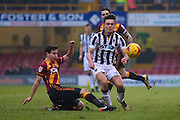 Bradford City midfielder, on loan from West Ham United, Josh Cullen (14) fouls Millwall midfielder Ben Thompson (8)  during the EFL Sky Bet League 1 match between Bradford City and Millwall at the Northern Commercials Stadium at Valley Parade, Bradford, England on 21 January 2017. Photo by Simon Davies.