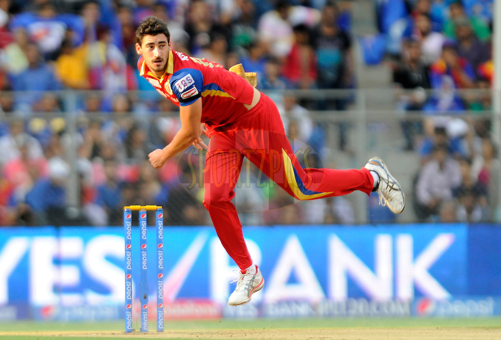 Mitchell Starc of Royal Challengers Bangalore bowls during match 46 of the Pepsi IPL 2015 (Indian Premier League) between The Mumbai Indians and The Royal Challengers Bangalore held at the Wankhede Stadium in Mumbai, India on the 10th May 2015.<br /> <br /> Photo by:  Pal Pillai / SPORTZPICS / IPL