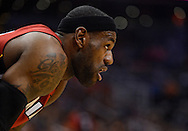 Nov. 17, 2012; Phoenix, AZ, USA; Miami Heat forward LeBron James (6) reacts on the court during the game against the Phoenix Suns at US Airways Center. The Heat defeated the Suns 97-88. Mandatory Credit: Jennifer Stewart-US PRESSWIRE