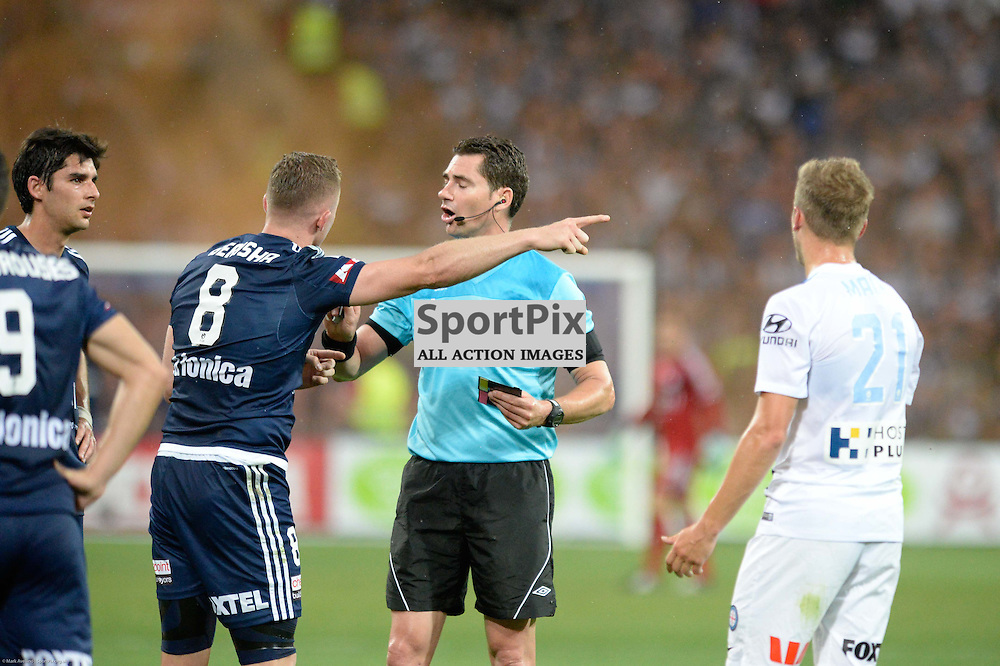 Besart Berisha of Melbourne Victory in dispute with the ref in the Hyundai A-League, 19th December 2015, RD11 match between Melbourne City FC v Melbourne Victory FC at Aami Park in a 2:1 win to City in front of a 23,000+ crowd. Melbourne Australia. © Mark Avellino | SportPix.org.uk