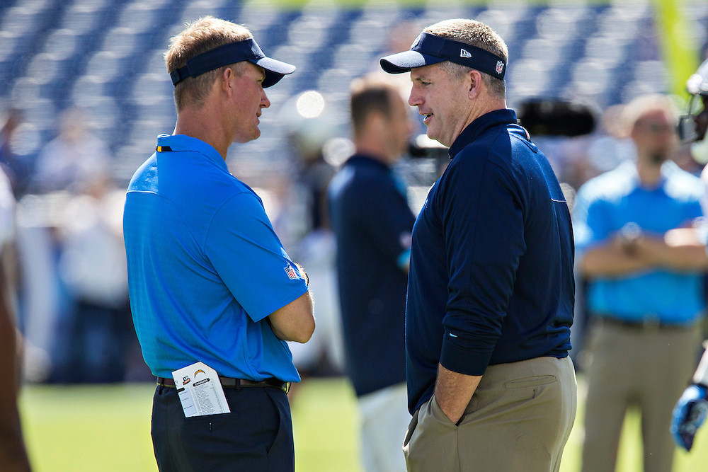 NASHVILLE, TN - SEPTEMBER 22:  Head Coach Mike McCoy of the San Diego Chargers and Mike Munchak of the Tennessee Titans at LP Field on September 22, 2013 in Nashville, Tennessee.  The Titans defeated the Chargers 20-17.  (Photo by Wesley Hitt/Getty Images) *** Local Caption *** Mike McCoy; Mike Munchak