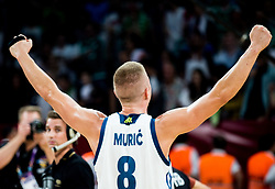 Edo Muric of Slovenia celebrating at Trophy ceremony after winning during the Final basketball match between National Teams  Slovenia and Serbia at Day 18 of the FIBA EuroBasket 2017 when Slovenia became European Champions 2017, at Sinan Erdem Dome in Istanbul, Turkey on September 17, 2017. Photo by Vid Ponikvar / Sportida