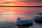 heart of ice, AuTrain, photo of a rock covered in ice in the shape of a heart on the lake superior shore in the upper peninsula of michigan