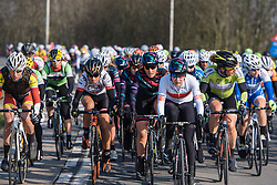 Alena Amialiusik on the front as the race rolls out of Ghent - 2016 Omloop het Nieuwsblad - Elite Women, a 124km road race from Vlaams Wielercentrum Eddy Merckx to Ghent on February 27, 2016 in East Flanders, Belgium.
