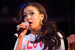 © Licensed to London News Pictures. 11/09/2011. London, UK. Dionne Bromfield performing on the Barclaycard Stage, Thames Festival. Photo credit : Mark Baynes/LNP