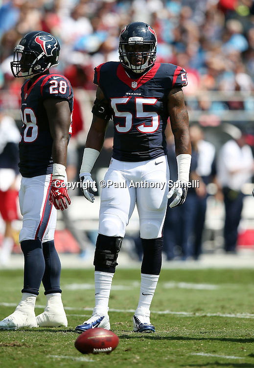 Houston Texans inside linebacker Benardrick McKinney (55) looks on during the 2015 NFL week 2 regular season football game against the Carolina Panthers on Sunday, Sept. 20, 2015 in Charlotte, N.C. The Panthers won the game 24-17. (©Paul Anthony Spinelli)