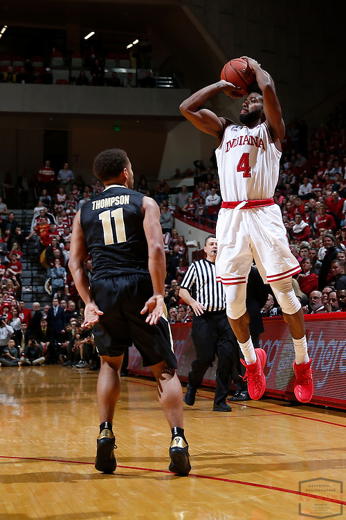 Indiana guard Robert Johnson (4) in action as Purdue played Indiana in an NCCA college basketball game in Bloomington, Ind., Thursday, Feb. 9, 2017. (AJ Mast)