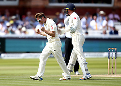 Liam Dawson of England celebrates taking the wicket of Kagiso Rabada of South Africa - Mandatory by-line: Robbie Stephenson/JMP - 08/07/2017 - CRICKET - Lords - London, United Kingdom - England v South Africa - Investec Test Series