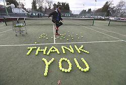 Tennis coach Josh Thomson with tennis balls laid out at Dunblane Tennis Club in Andy Murray's home town, he has said he is aiming to end his career after Wimbledon but the Australian Open may be his last tournament.